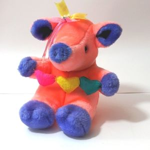 Vintage 80s 90s pig plushie neon pink cute retro